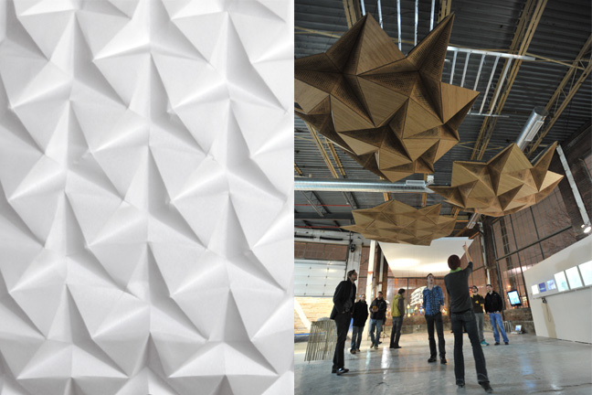 Tessellated origami pattern and installed prototype of three clouds